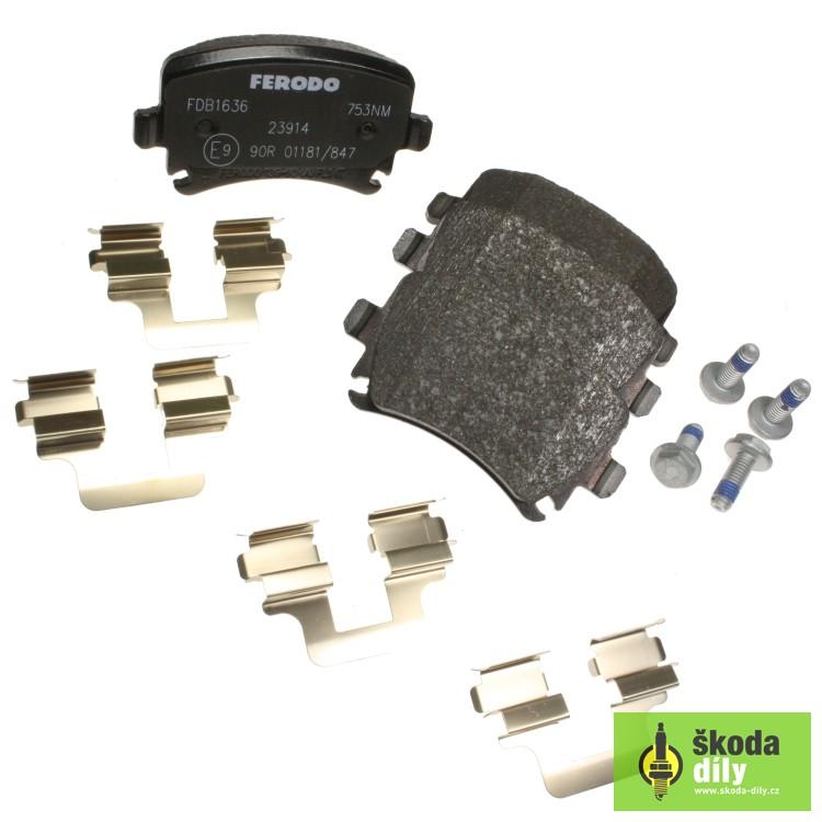Ferodo FDB1636 Rear Axle Premier Car Brake Pad Set Replaces 1K0 698 451